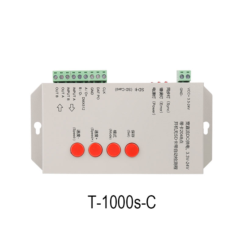 T-1000S Programmable SD Card Pixel Light Controller /Addressable Dream Color LED Strip Light Controller