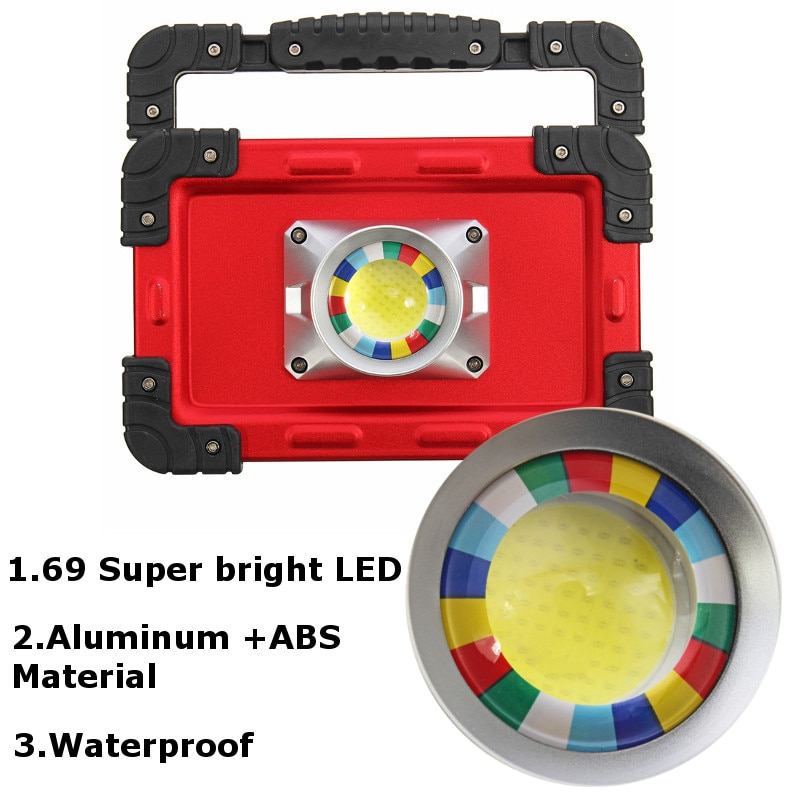30W Recharge Portable COB LED Floodlight Lithium 18650 Battery USB Charging Outdoor Working Light