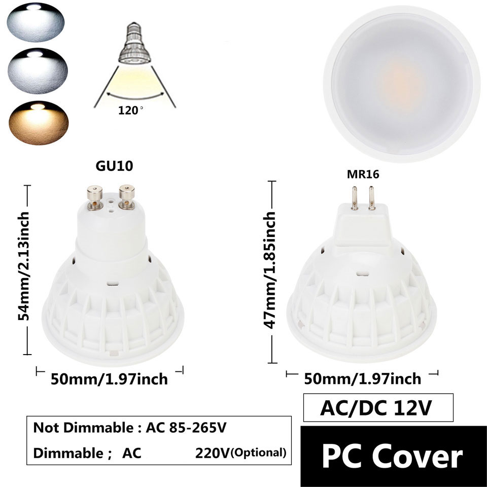 15W GU10 MR16 COB LED Bulb Lamp AC85-265V/DC12V LED No Dimmable Spotlight PC Cover