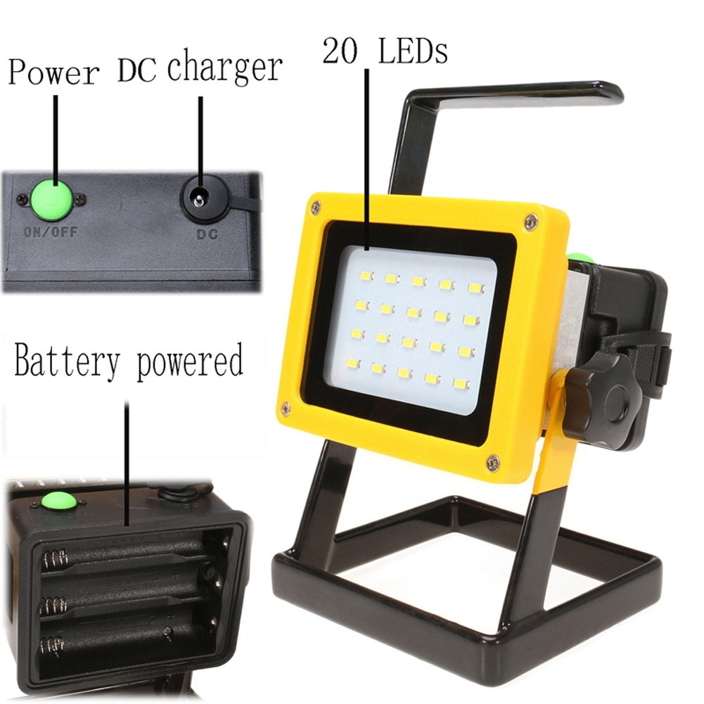 30W Recharge Portable LED Floodlight Lithium 18650 Battery 20LEDs IP65 100-240V Light +Charger