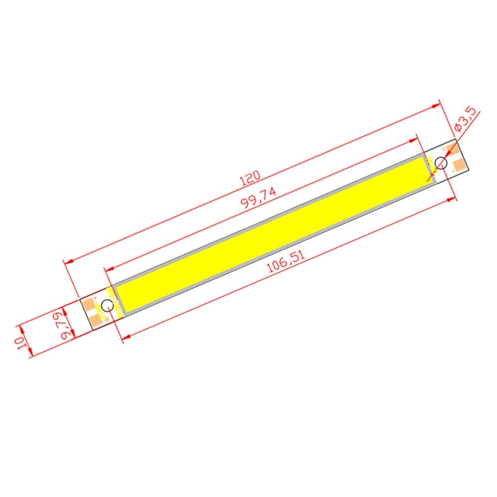 10W LED COB Light Bar Module 120*10mm Warm/Pure White/Chip Red/Blue DC 12V