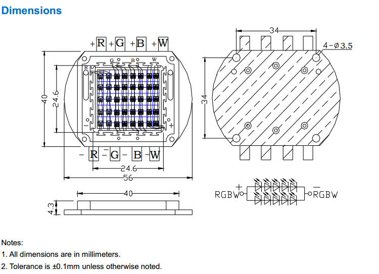 40W Watt RGBW Full Color High Power LED Square