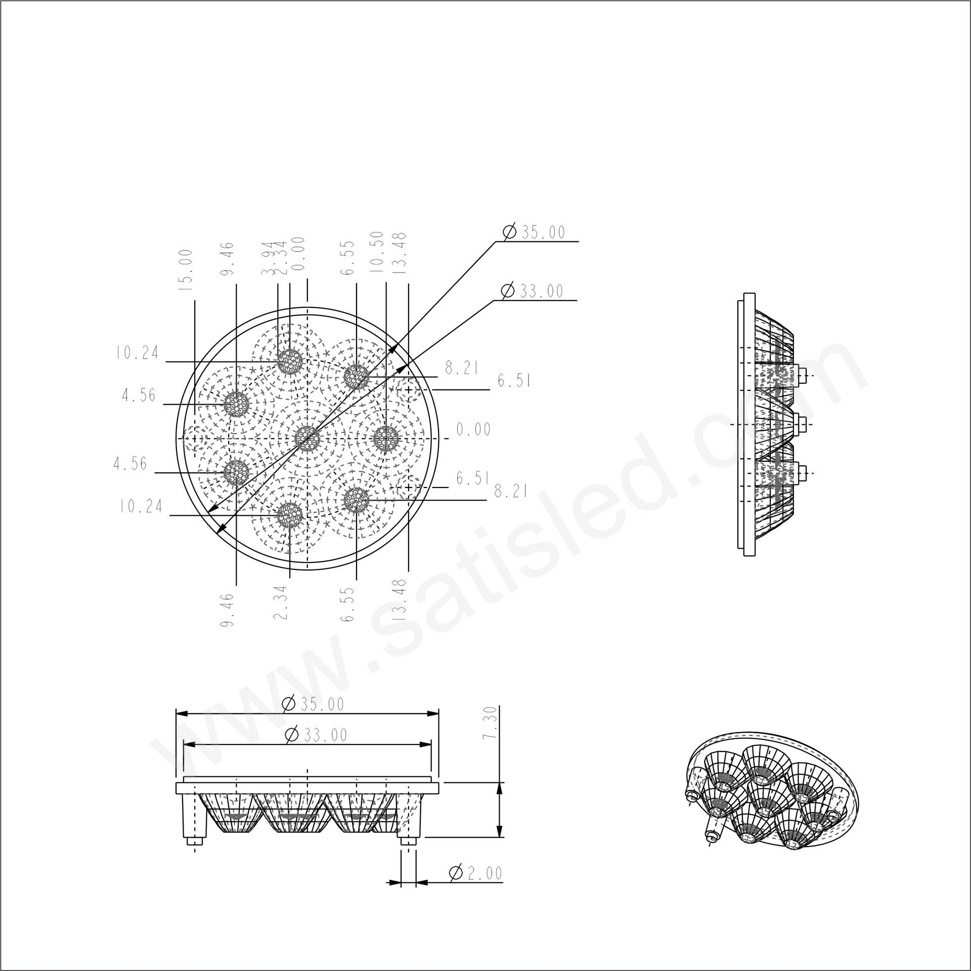 35mm LED Module Lens 30° Flat Water Clear 8pcs for CREE 3030/2835