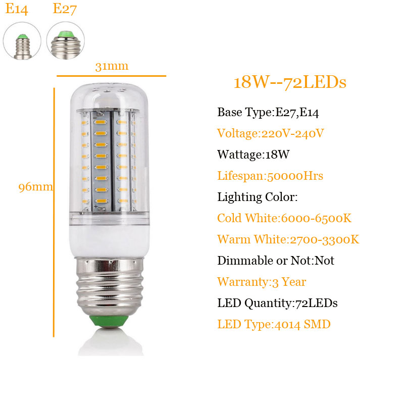 7W 9W 12W 15W 18W 20W 25W 28W 30W 35W E14 E27 4014 SMD LED Corn Bulb Lamp AC220V-240V Chandelier LEDs Candle Light