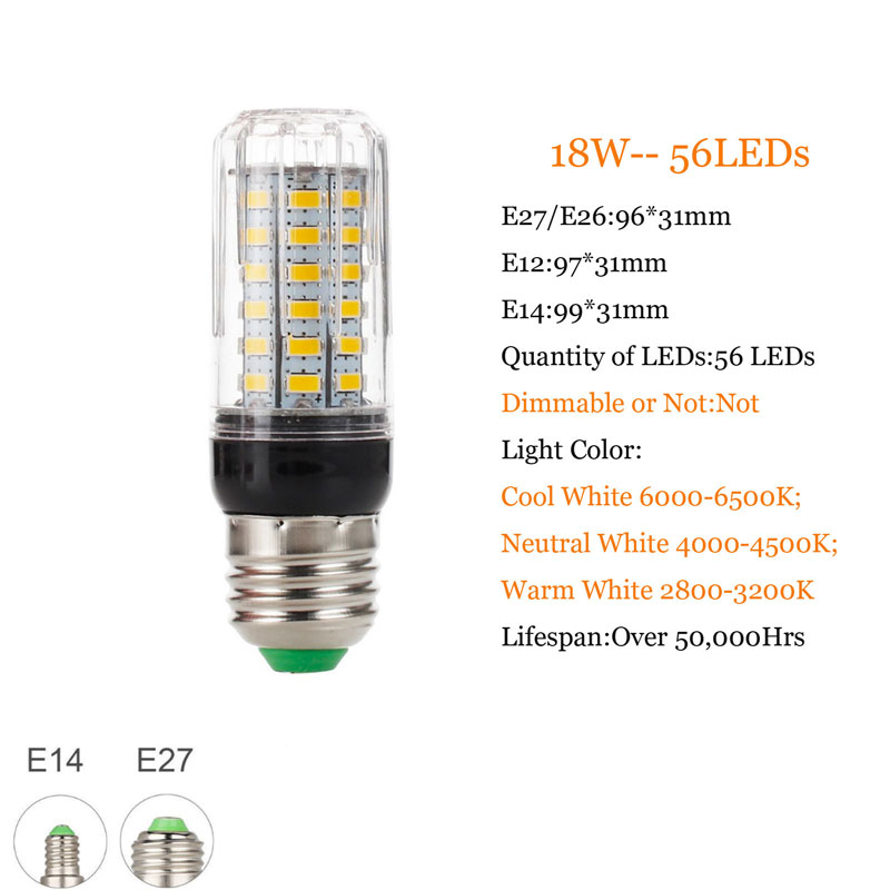 7W 9W 12W 15W 18W 20W 25W 28W 30W 35W E27 E14 5730 SMD LED Corn Bulb Lamp 110/220V Chandelier LEDs Candle light