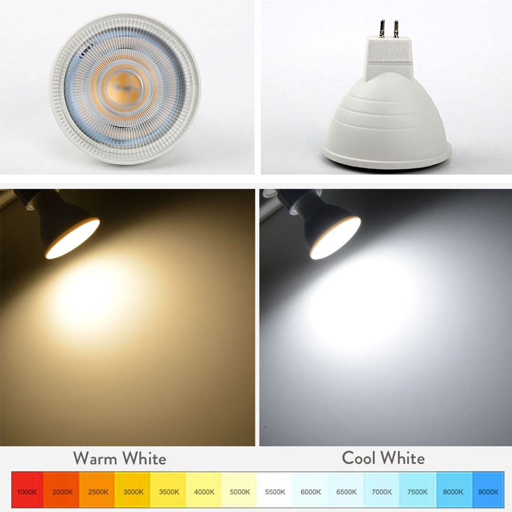7W GU10 GU5.3 MR16 COB LED Bulb Lamp AC110V/220V LED Dimmable Spotlight