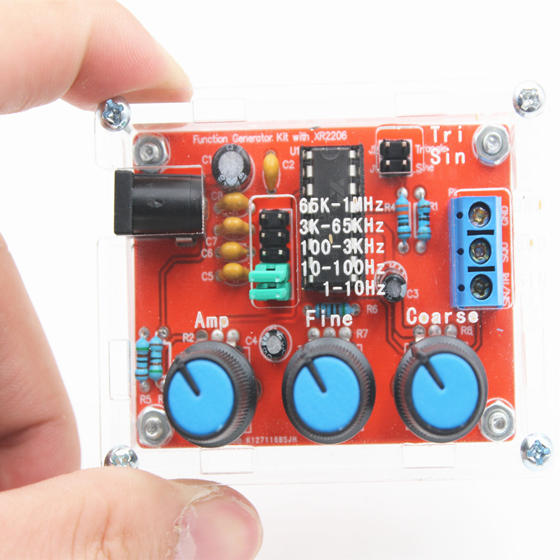1Hz-1MHz Sine/Triangle/Square Output XR2206 Adjustable Frequency Signal Generator