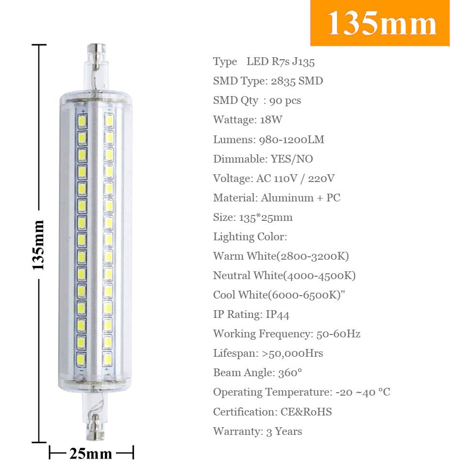 10W 15W 18W 20W R7S 2835 SMD LED Corn Bulb Lamp AC110V/220V LED Ceramic Floodlight