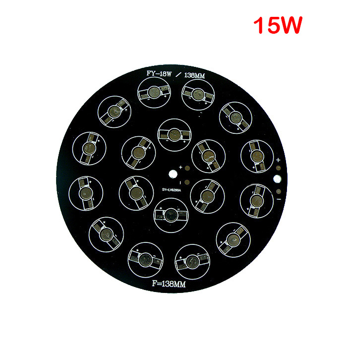 138mm 9W/12W/15W/18W RGB LED Black Aluminum Base Plate PCB Board