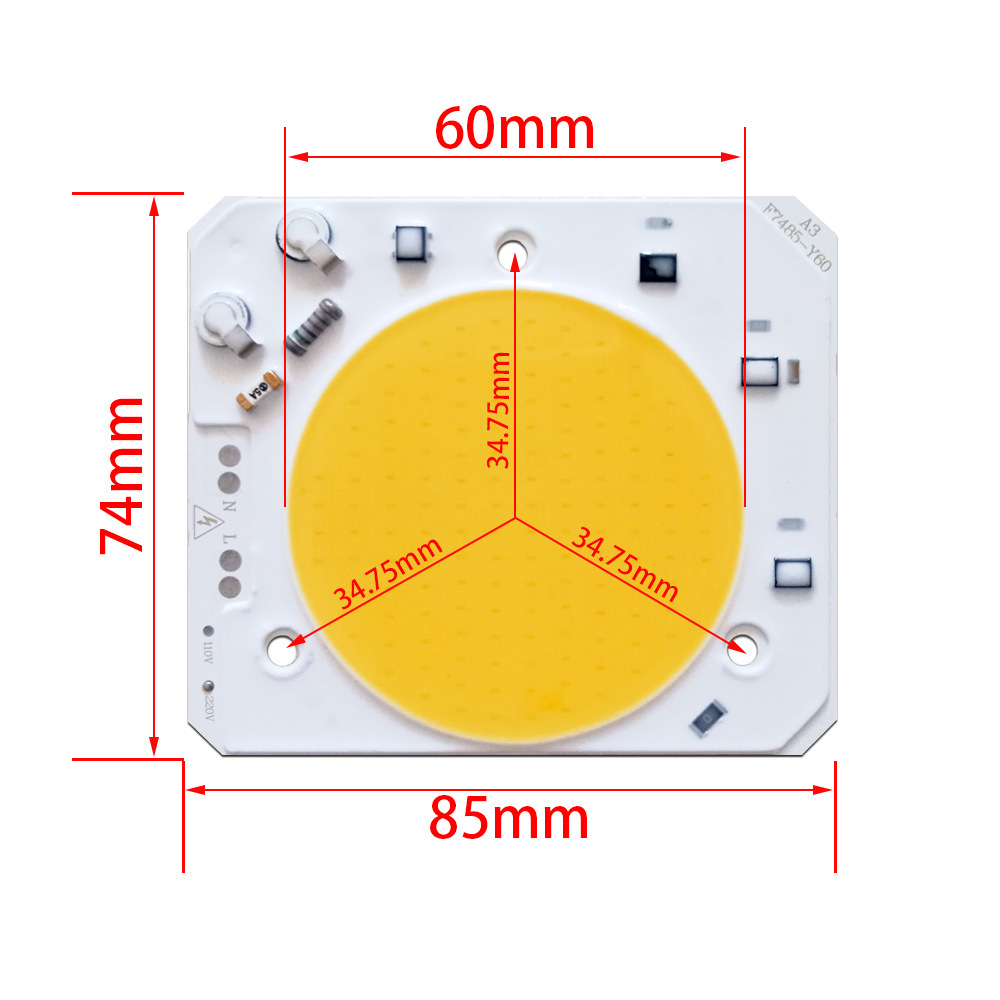 30W 40W 50W Driverless LED Light COB Chip Size 74x85mm Waterproof Advertising Light