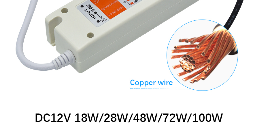 90V-240V to DC12V 18W 28W 48W 72W 100W Ultra-thin Driver Power Supply Adapter Transformer for LED Strip Lights