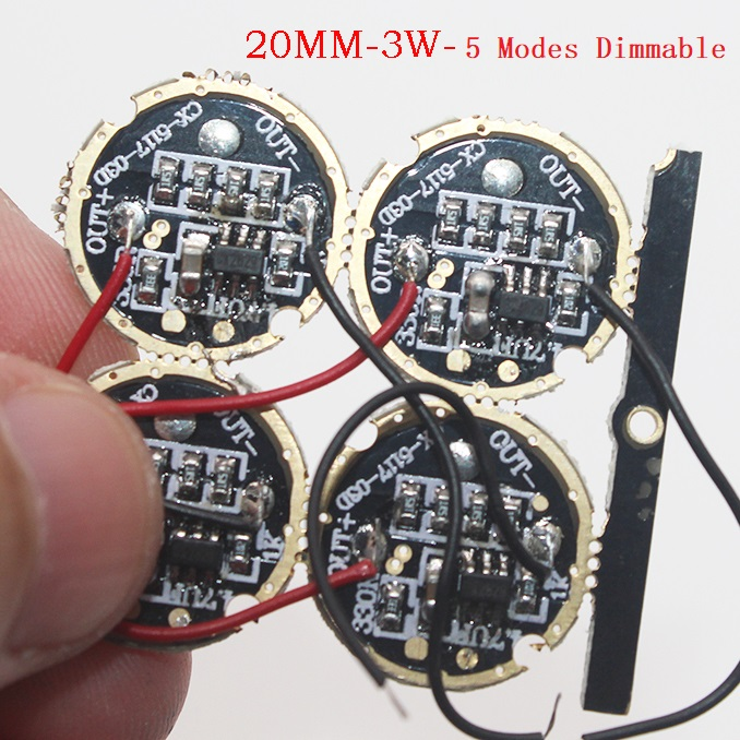 3W 17mm 20mm LED Driver Input DC 3-4.2V Output 3-3.6V 700mA 5 Modes Dimmable