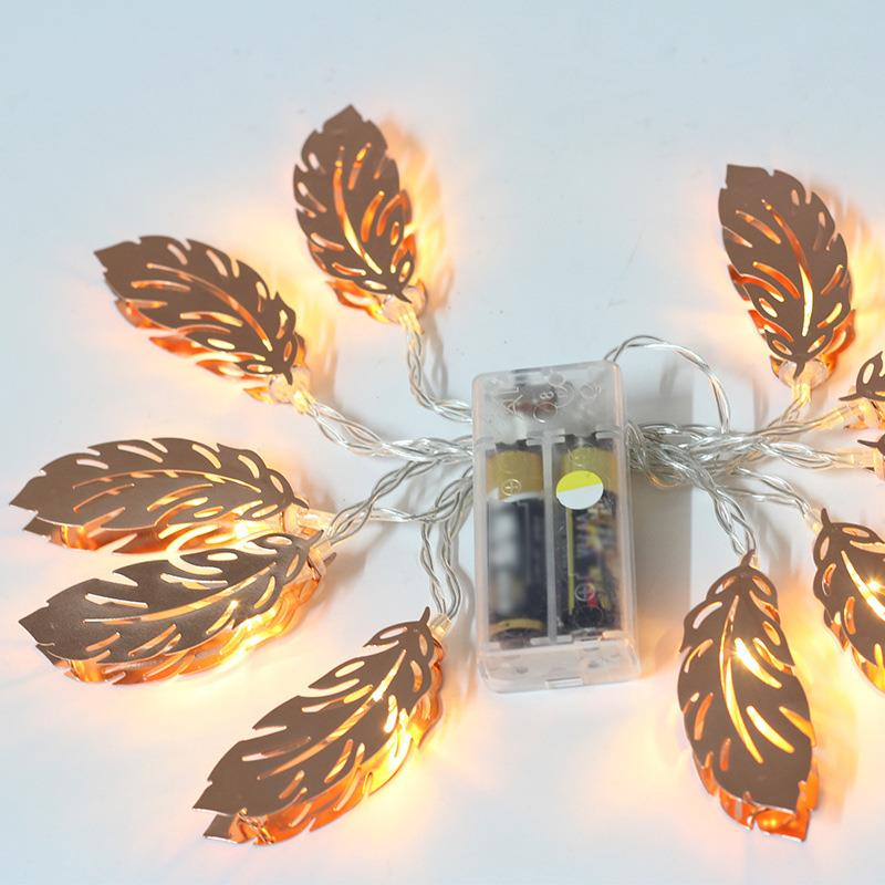 Battery Powered LED Rose Gold Feather Shape Metal Light String 1.5M/2.2M/3M