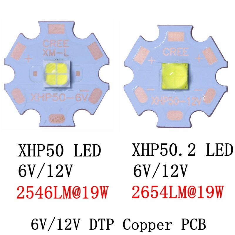 CREE XHP50.2 XHP50 2 generation Cool White Neutral White Warm White LED Emitter 6V 12V with 16mm 20mm Copper PCB