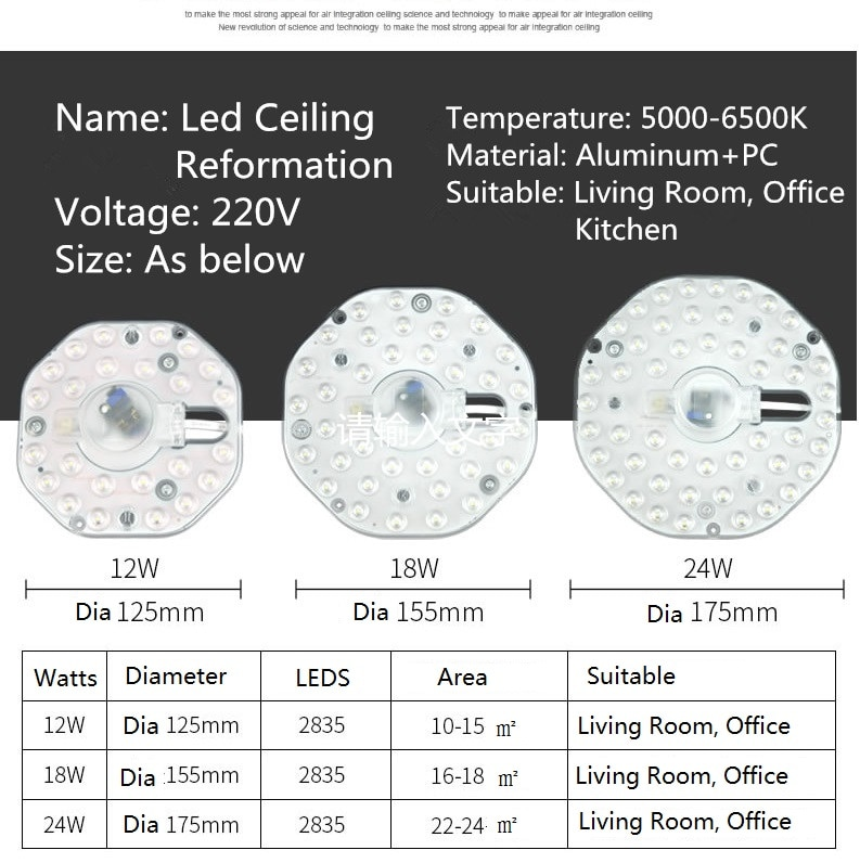 Ceiling Lamps LED Module 12W 18W 24W 36W LED Light Replace Ceiling Lamp Lighting Source
