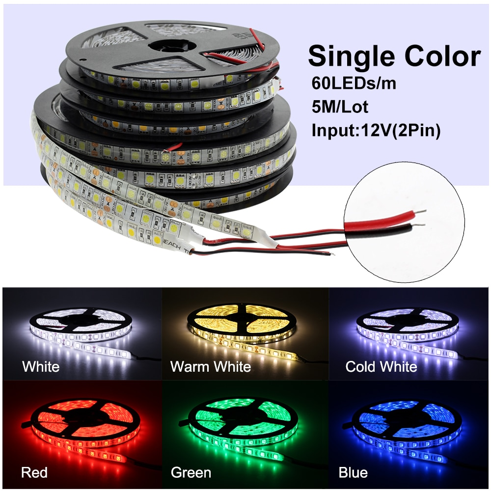 DC 12V 5050 SMD Flexible LED Strip 60LEDs/m Emitting Warm White /Cold White /RGB /RGBW /Pink /Ice Blue