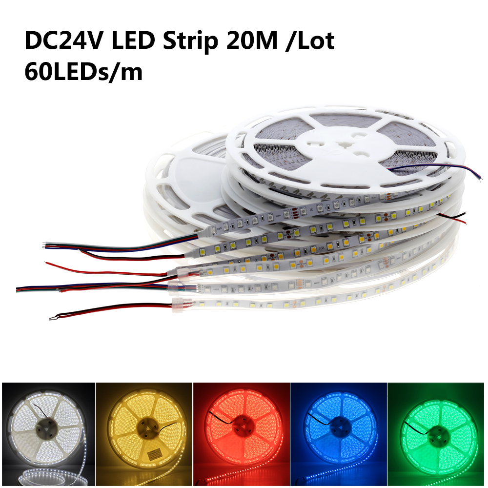 DC 24V 5050 SMD Flexible LED Strip 60LEDs/m 20m/Tape Emitting Warm White / White / RGB