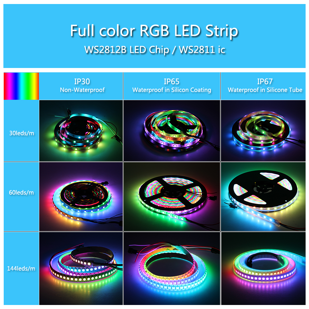 DC5V Full Color WS2812B LED Strip Black / White PCB Board RGB Smart Pixel Control