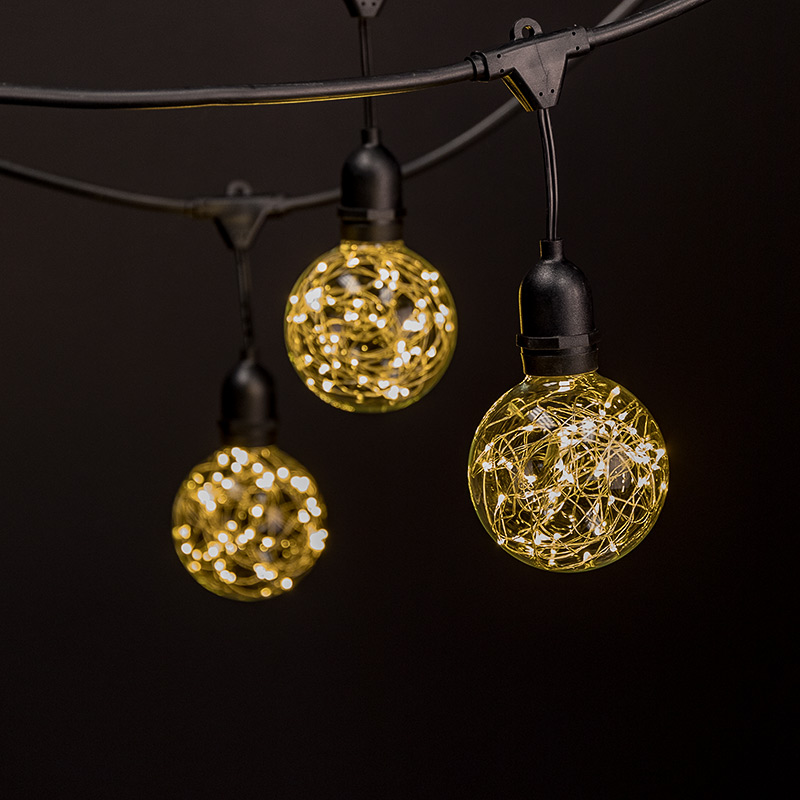 Fairy String Lights - 23' -w/ 10 Pendant G95 Commercial Grade Outdoor