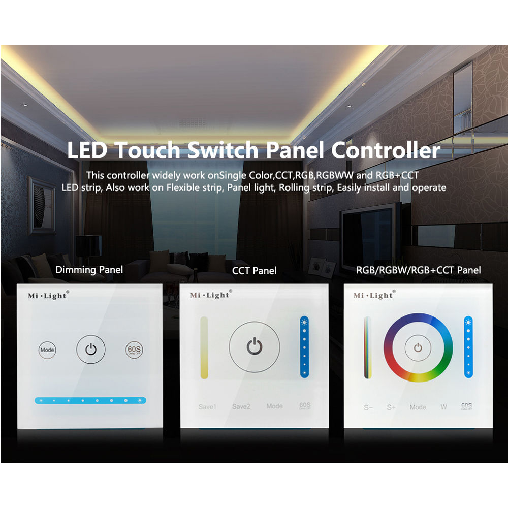 Milight Smart Panel Led Controller Color Temperature CCT Dimming RGBW RGB CCT LED Touch Switch