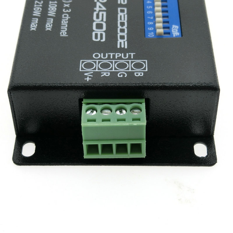 PX24506 DMX Decoder Driver RGB Amplifier Control Controller For LED Light 12-24V DMX Decoder