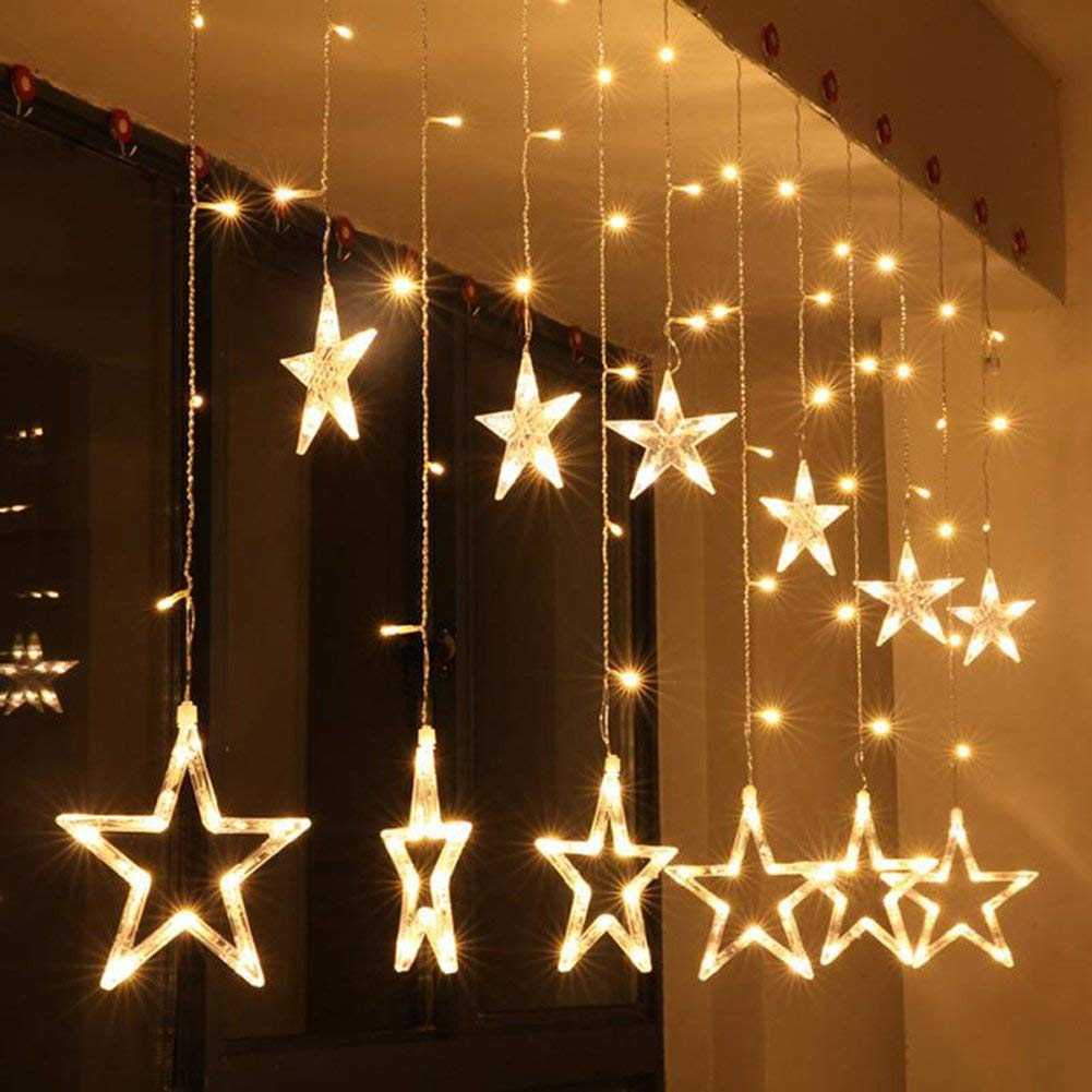 Plug Powered LED Star Curtain Light String 2M 110V/220V