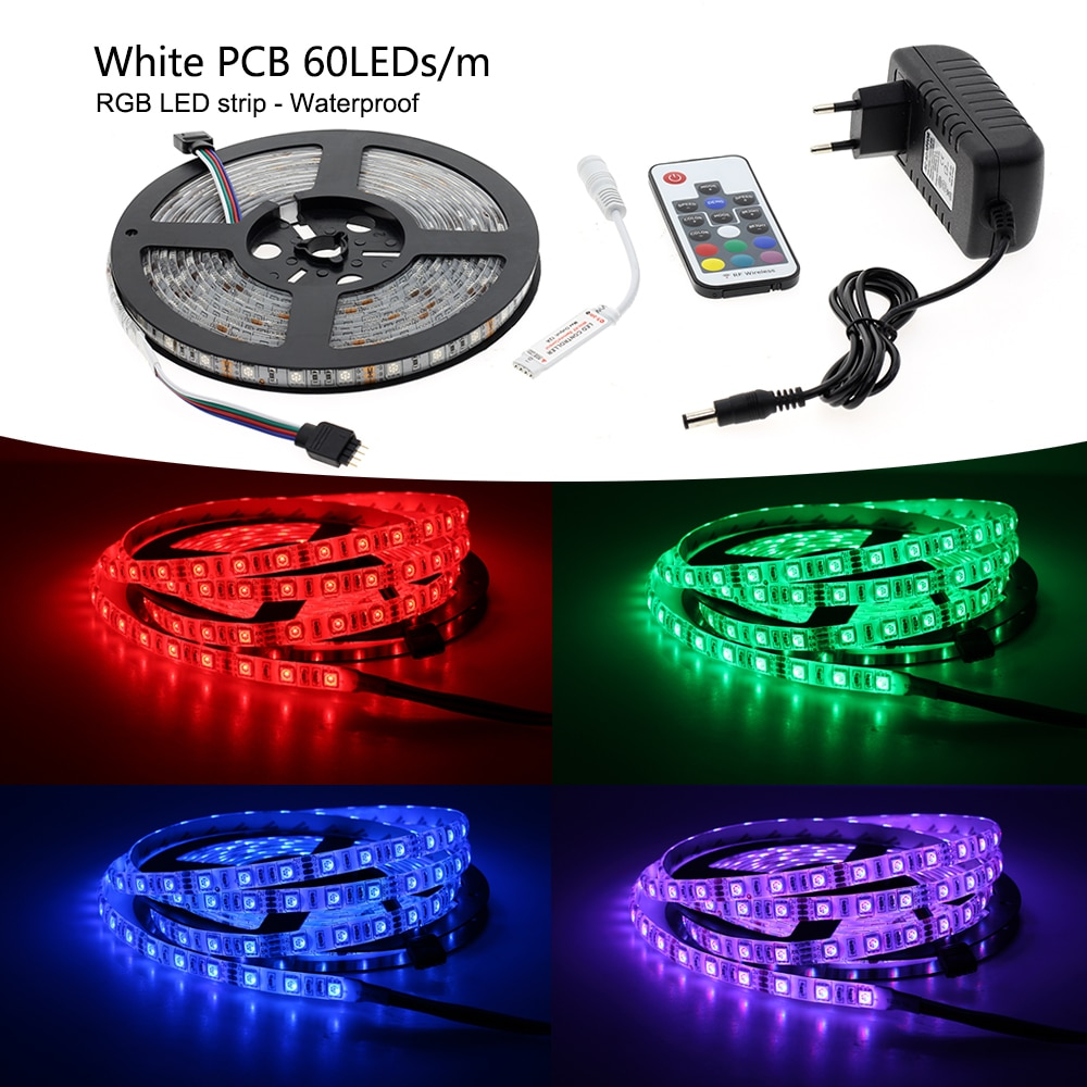 RGB LED Strips 5050 DC12V 5m 300 LEDs Fleixble Light + 17Keys RF Controller + 12V 3A Power Adapter