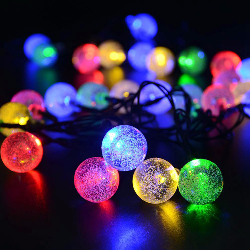 Solar Powered LED Crystal Bubble Ball Light String 4M/5M/7M