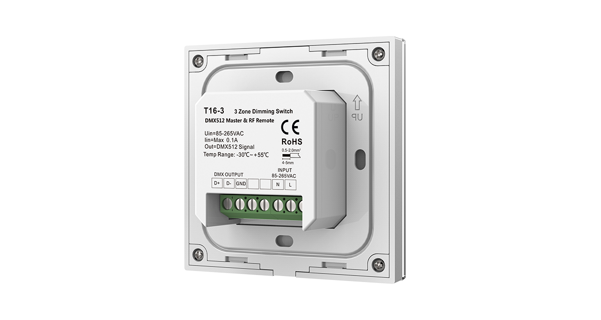 T16-3 AC85-265V 2.4G 3 Zones Single Color Dimming Touch Panel for LED Lamp
