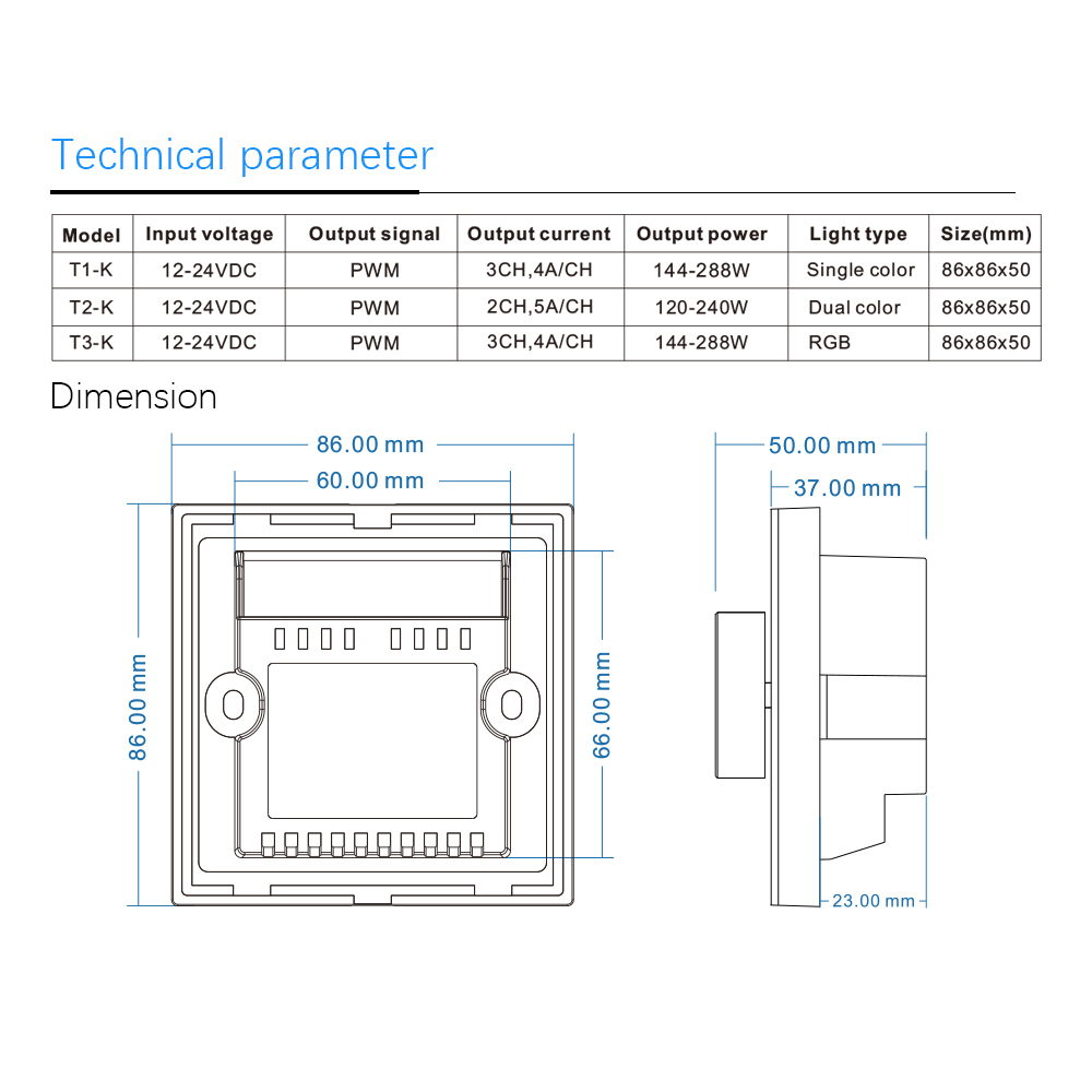 T1-K T2-K T3-K RF2.4G PWM CV DIM/CCT/RGB Rotary Touch Glass Panel Controller for LED Lamp