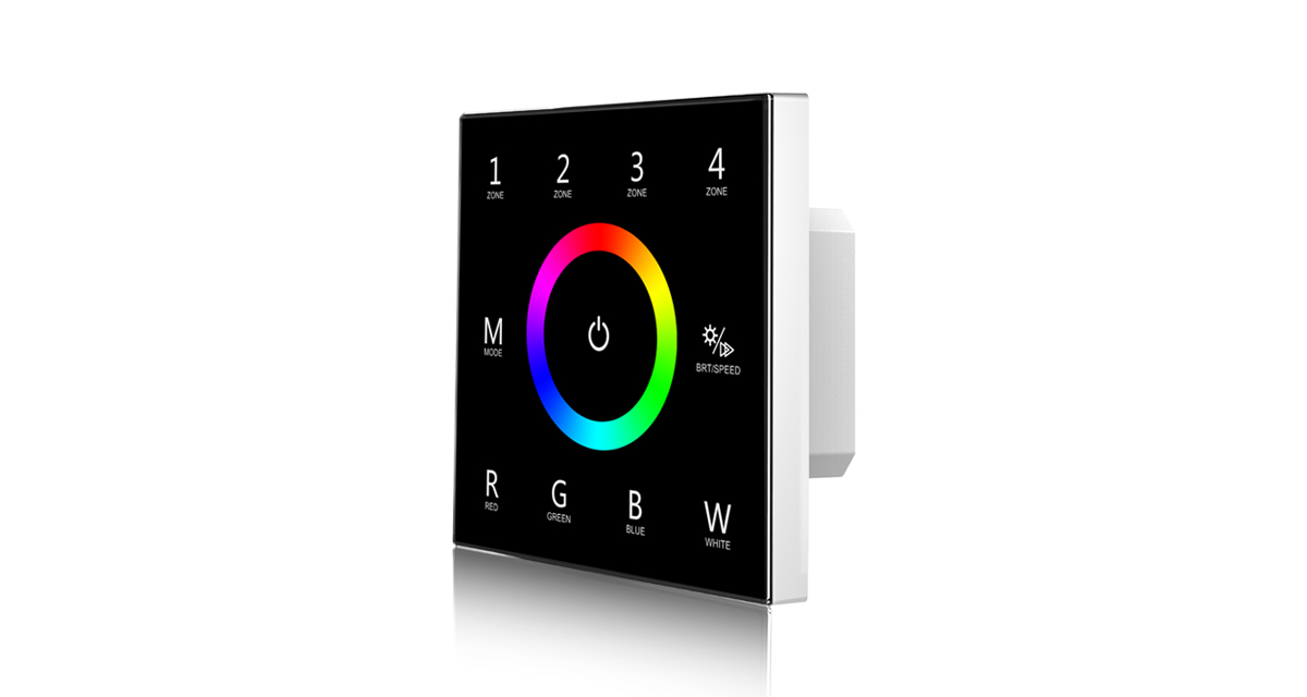 T14  AC85-265V RF2.4G RGBW 4 Zones Touch Panel Controller for LED Lamp