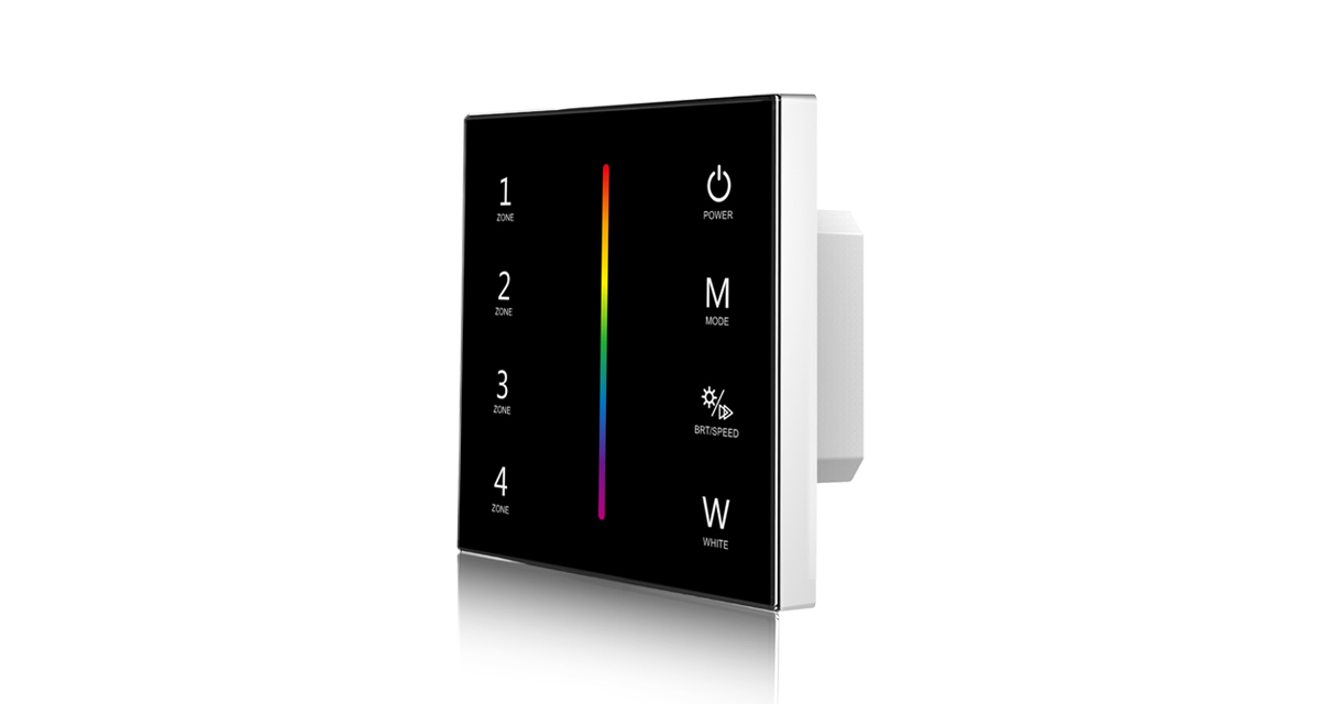 T14-1 AC85-265V RF2.4G RGBW 4 Zones Touch Panel Controller for LED Lamp