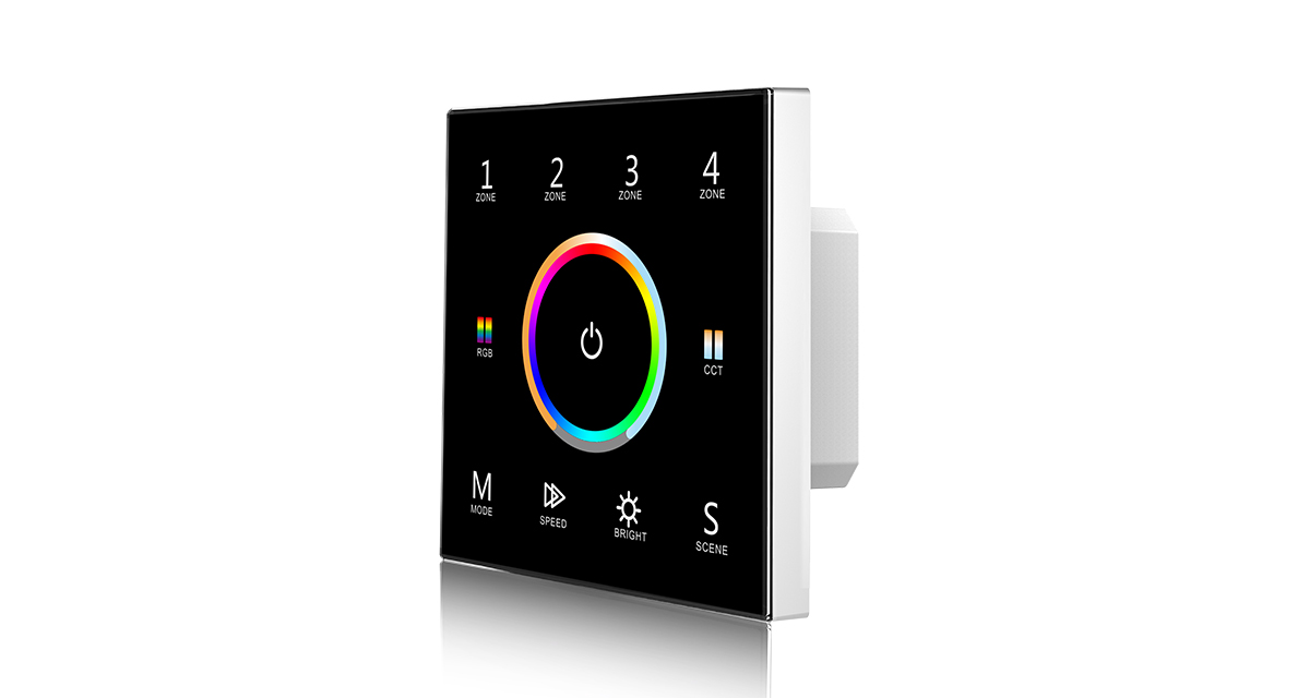 T15 AC85-265V 2.4G 1-5 Color 4 Zone Touch Panel Controller for LED Lamp
