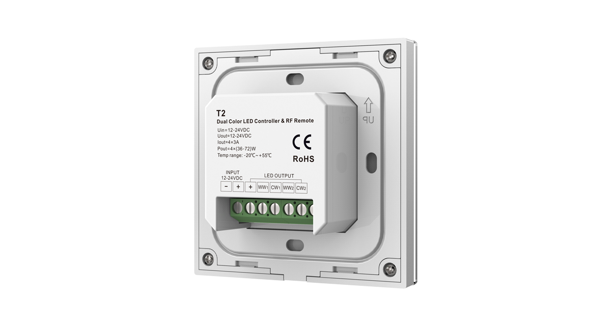 T2 12-24VDC RF 2.4G Dual Color 4 Channel Color Temperature Touch Panel Controller for LED Lamp