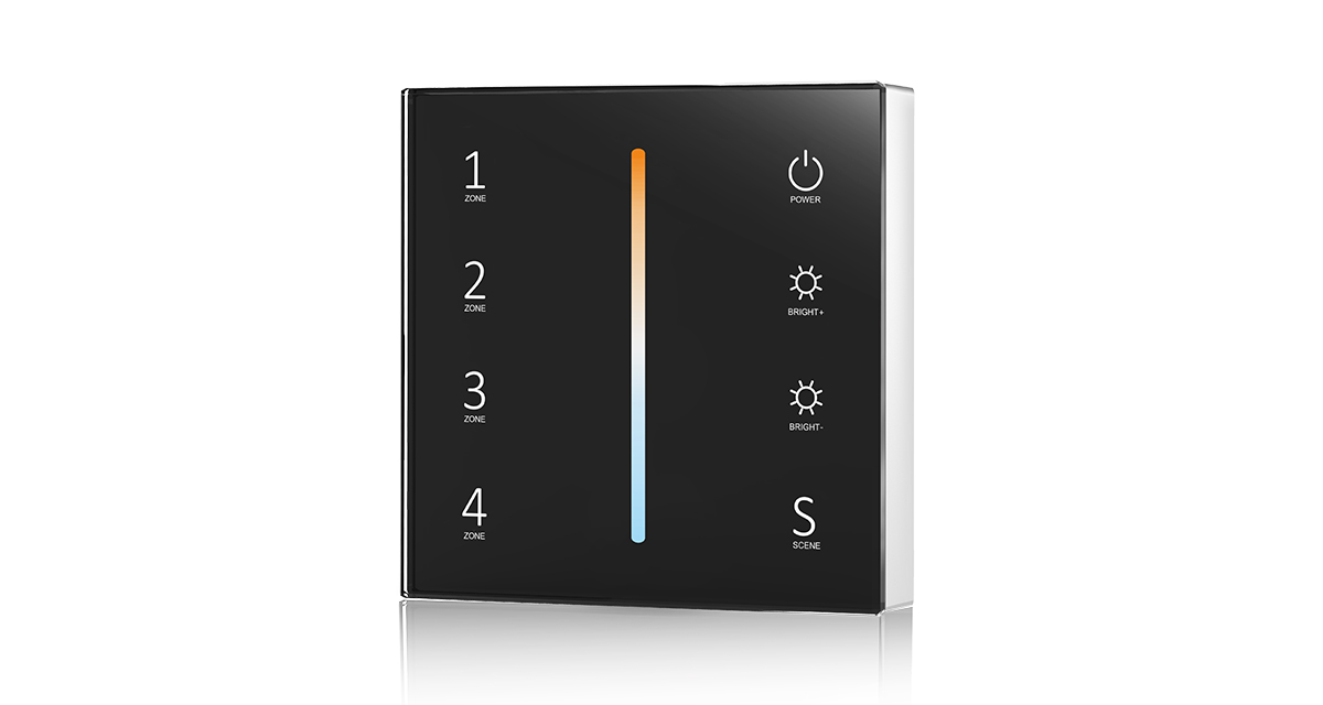 T22 DC3V 2.4G 4 Zones Dual Color Color Temperature Touch Panel Controller for LED Lamp