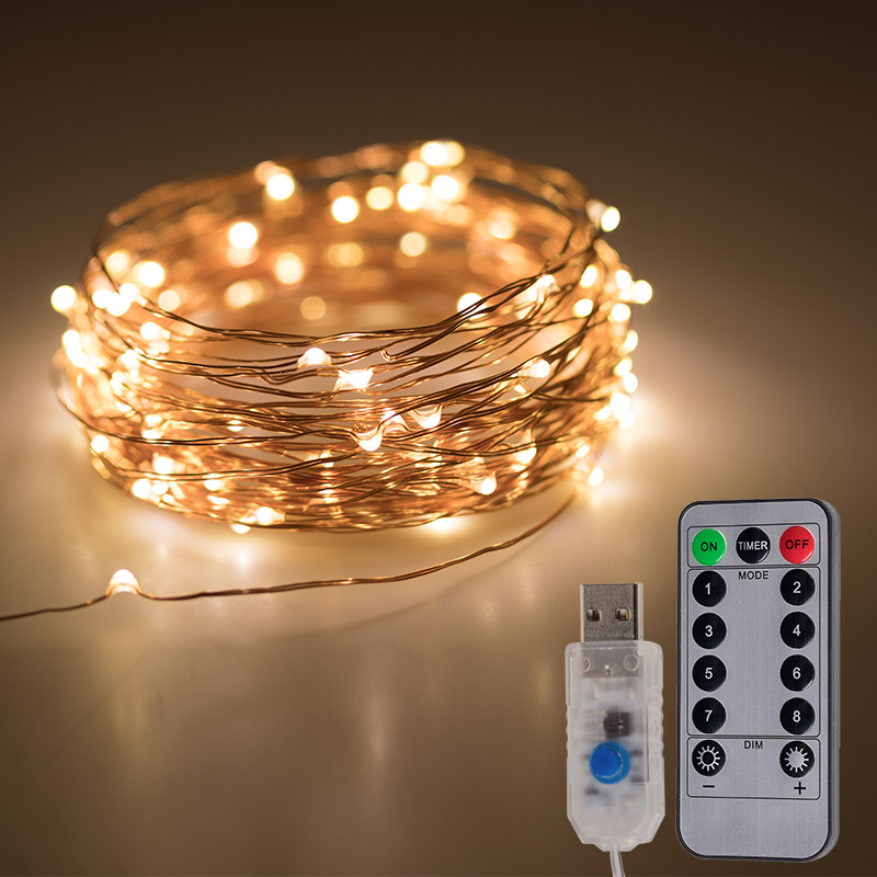 USB Powered LED Fairy Light String Copper Wire Remote Control 5/10/20M 8 Modes