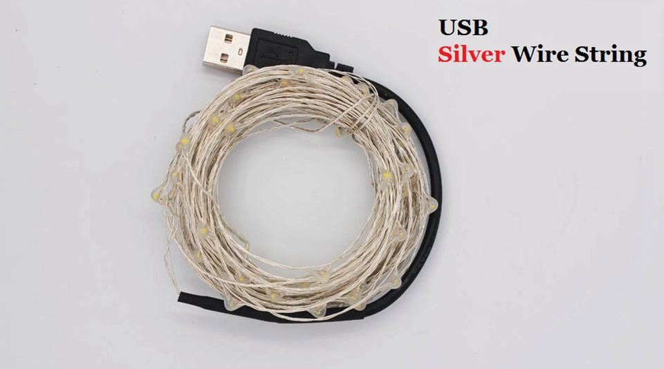 USB Powered LED Fairy Light String Silver Wire 1/2/3/4/5/10M