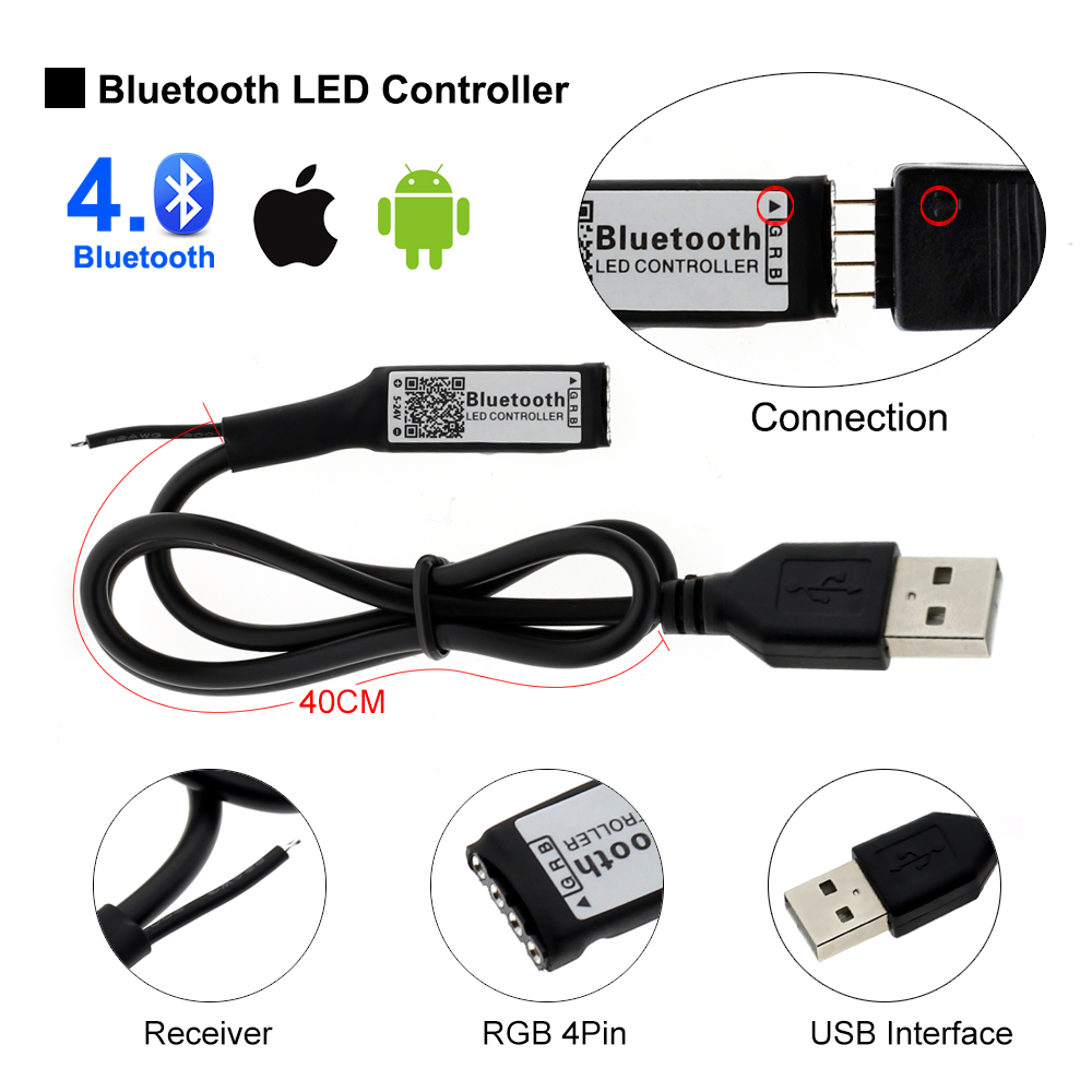 5V 5050 SMD RGB Bluetooth USB LED Strip TV Background Lighting with Bluetooth Controller