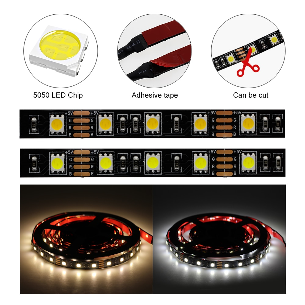 5V 5050 SMD USB LED Strip 50cm/1m /2m /3m 60LEDs/m USB Power Supply with Switch