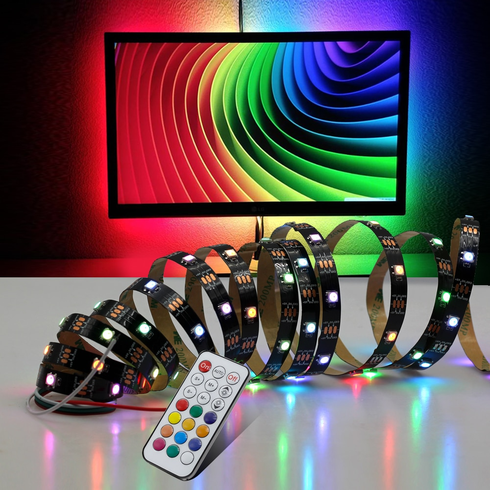 5V LED Strip Dream Color Set WS2812B RGB Runing Color Changeable USB LED Strip + 21Key Controller + Power Adapter