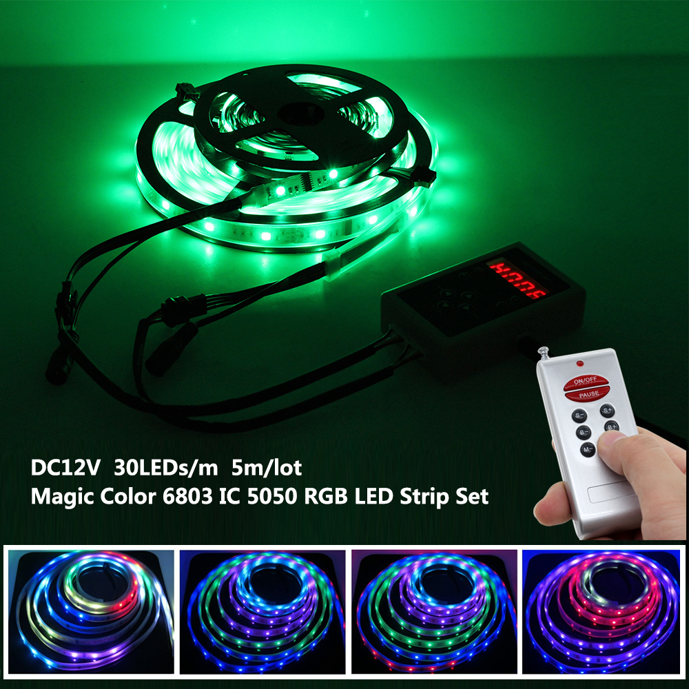 6803 IC Dream Color RGB LED Strip 5050 30LED/m IP67 Waterproof 5M + 133 Program RF Magic Controller + Adapter