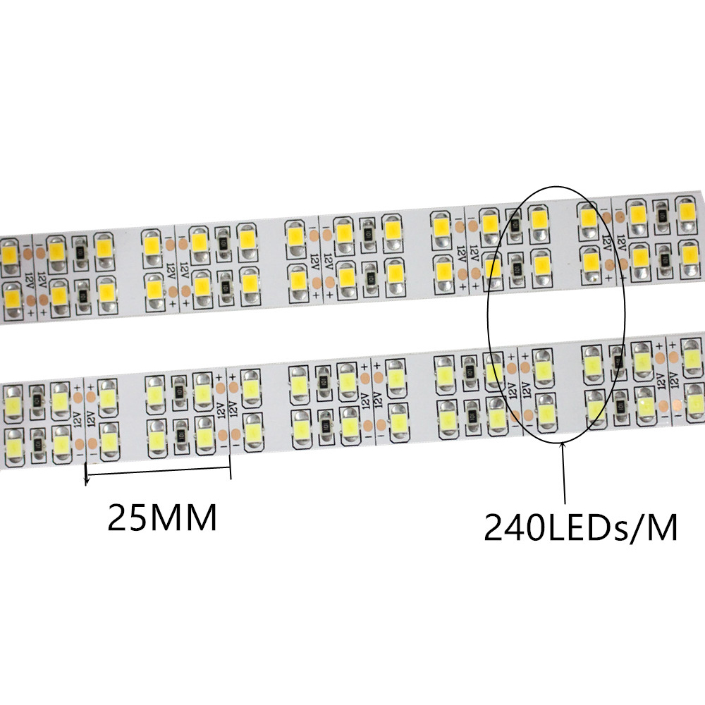 DC 12V 2835 SMD Flexible LED Strip 240LEDs/m Double Row Waterproof IP20/IP65/IP67