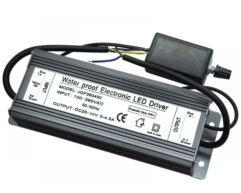 150W Dimmable LED Driver Input AC100V~264V DC25-36V 0-4.5A Waterproof JGF360450