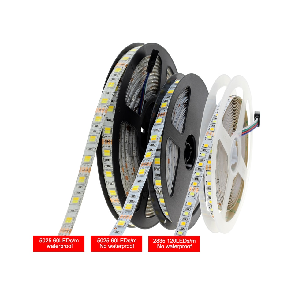 DC12V 5025 SMD Flexible LED Strip 60LEDs/m Emitting Double Color Warm White + Cold White