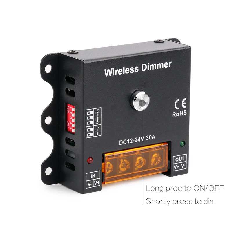 DC12-24V Frequency Adjustable RF 433mHz Remote Dimmer, 300hz 500hz 700hz 1khz 5khz 10khz 30A