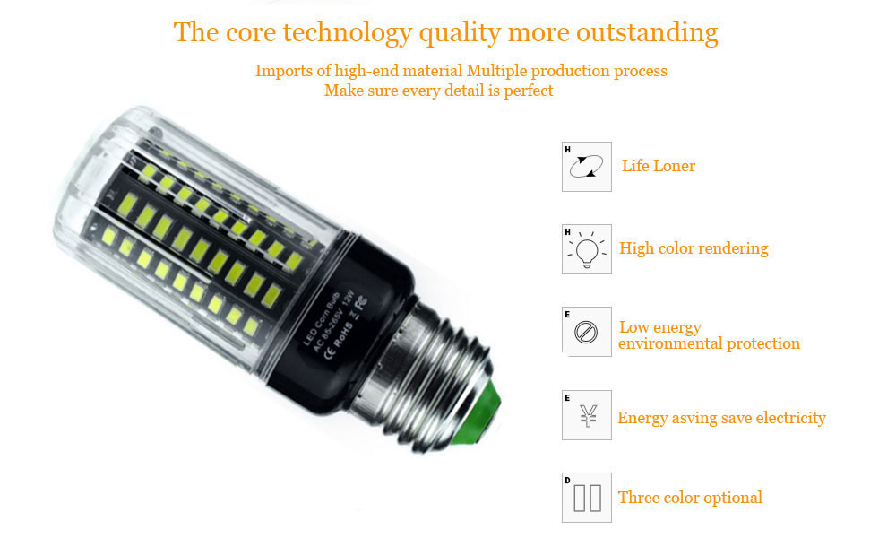 3W 5W 7W 9W 12W 15W 18W E14 E27 5736 SMD LED Corn Bulb Lamp AC85-265V Chandelier LEDs Candle Light No Flicker