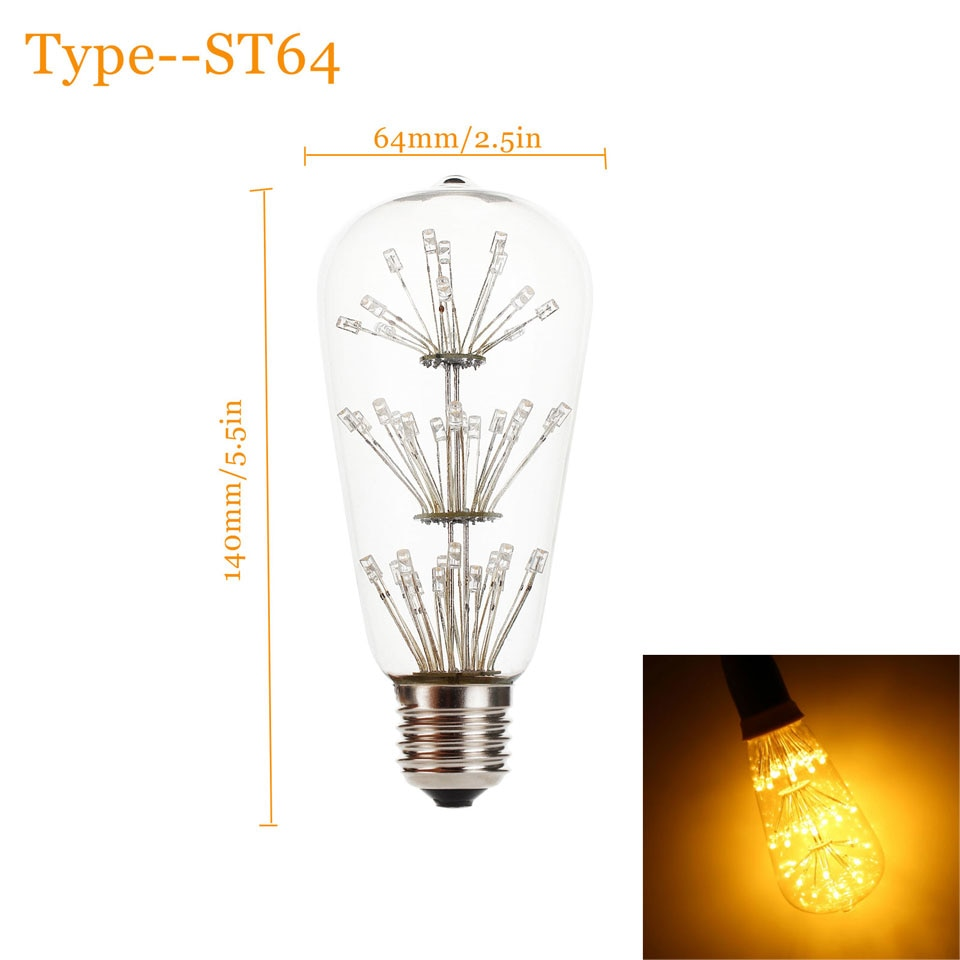 3W E27 ST64 LED Edison Bulb AC220-240V Home Light LED Filament Light Bulb