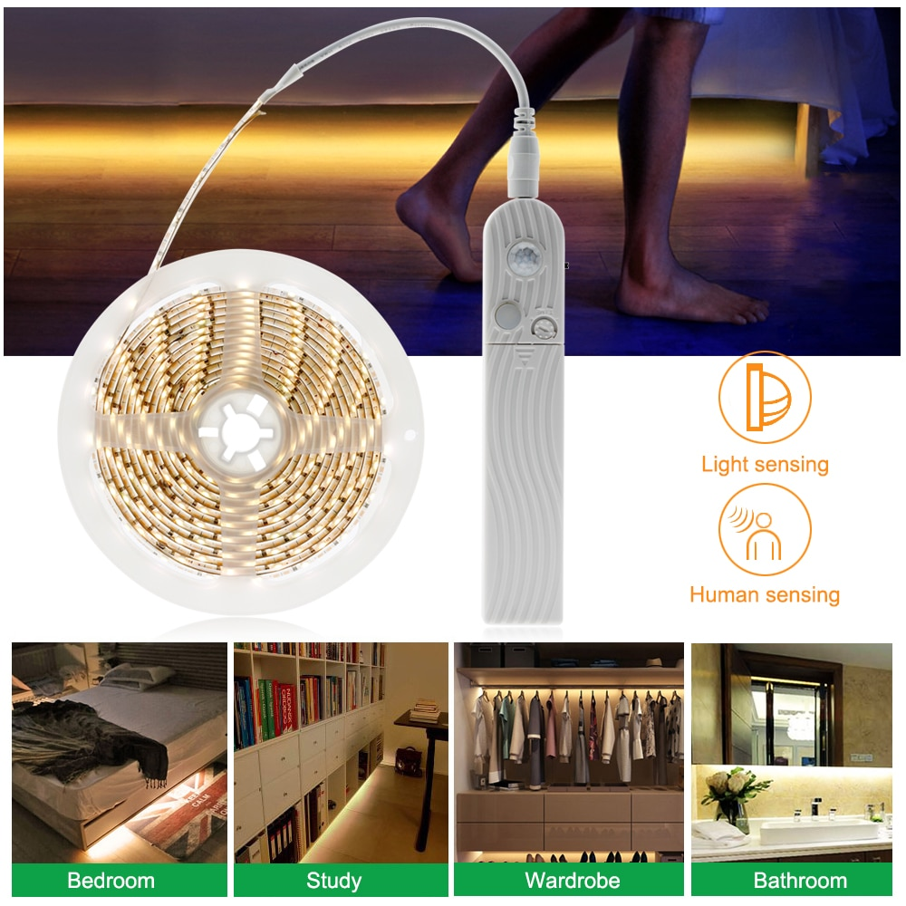 Motion Sensor LED Strip PIR Sensor LED Strip 2835 for DIY Under Bed Light Bedroom Washroom Night Lights