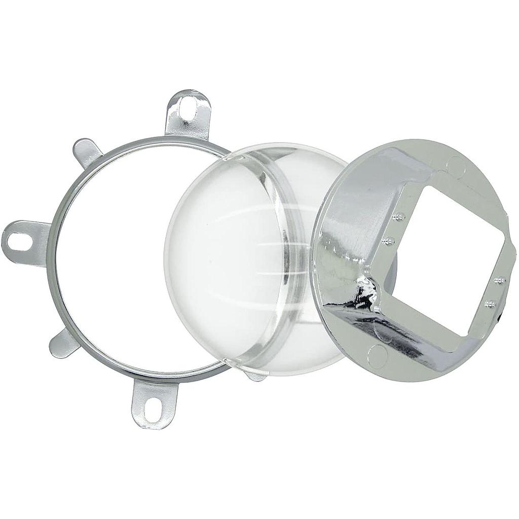 Optical Glass Lens 57mm + Reflector + Fixed Bracket Holder Suite for 20W-100W Power LED 60 Degree Focus