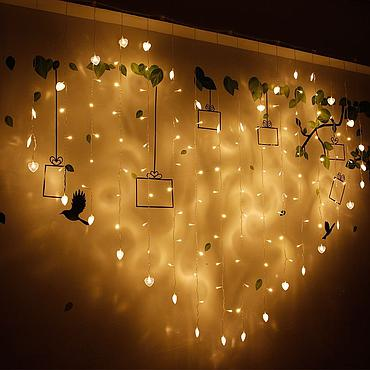 Plug Powered LED Heart Curtain Light String 2M 110V/220V